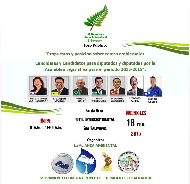 Foro medio ambiente con candidatos san salvador
