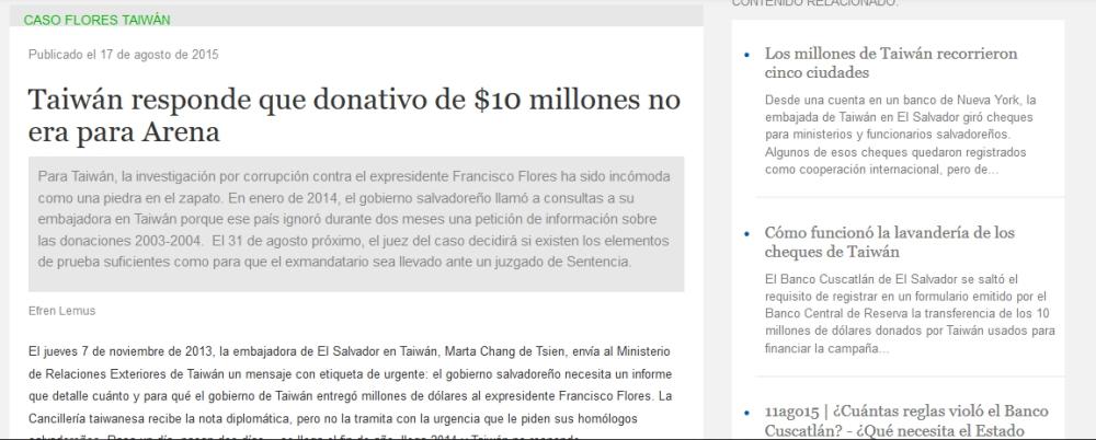 Taiwan sobre millones